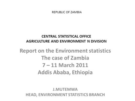 REPUBLIC OF ZAMBIA CENTRAL STATISTICAL OFFICE AGRICULTURE AND ENVIRONMENT N DIVISION Report on the Environment statistics The case of Zambia 7 – 11 March.