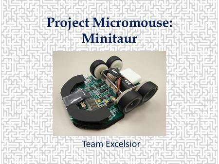 Project Micromouse: Minitaur Team Excelsior. MEET THE TEAM! Emilia Holbik Janel RaabDevin Helmgren Devon Griggs Fall 2013 Team Lead Electrical Engineer.
