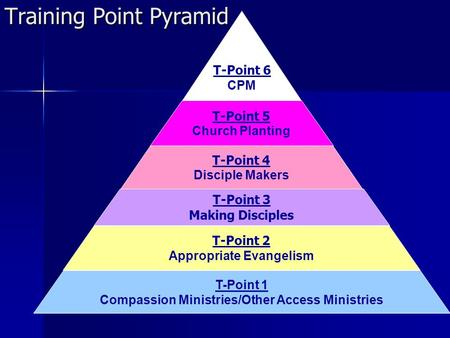 T-Point 1 Compassion Ministries/Other Access Ministries T-Point 2 Appropriate Evangelism T-Point 3 Making Disciples T-Point 4 Disciple Makers T-Point 5.