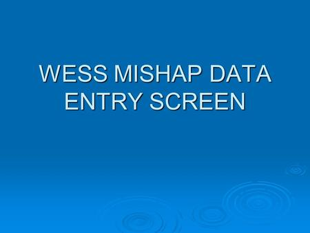 WESS MISHAP DATA ENTRY SCREEN. MISHAP DATA ENTRY SCREEN This is a screen that users often check incorrectly. The subsequent slides will attempt to clarify.