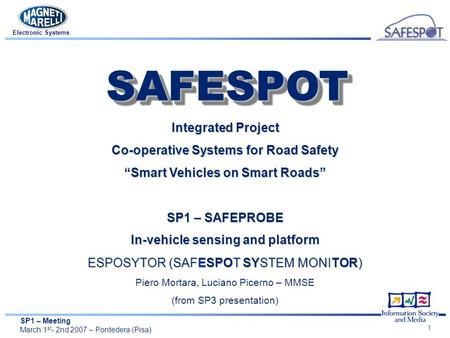 "SP1 – Meeting March 1 st - 2nd 2007 – Pontedera (Pisa) Electronic Systems 1 Integrated Project Co-operative Systems for Road Safety ""Smart Vehicles on."