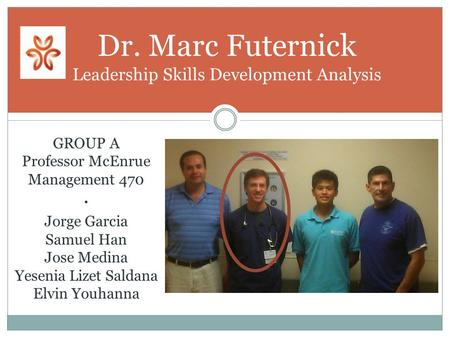 Dr. Marc Futernick Leadership Skills Development Analysis GROUP A Professor McEnrue Management 470 · Jorge Garcia Samuel Han Jose Medina Yesenia Lizet.