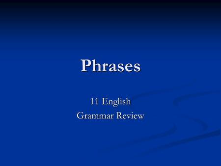 Phrases 11 English Grammar Review. Prepositional Phrases A prepositional phrase consists of a preposition, its object, and any modifiers of the object.