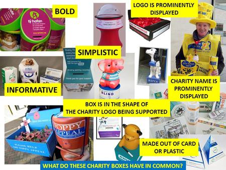 BOLD SIMPLISTIC INFORMATIVE CHARITY NAME IS PROMINENTLY DISPLAYED MADE OUT OF CARD OR PLASTIC LOGO IS PROMINENTLY DISPLAYED BOX IS IN THE SHAPE OF THE.