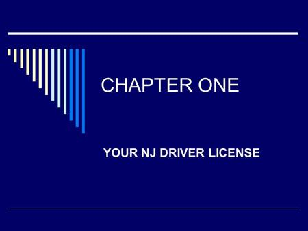 CHAPTER ONE YOUR NJ DRIVER LICENSE. I. Your NJ Driver License A. Things to have on you when driving: 1. Drivers License 2. Proof of Insurance 3. Registration.