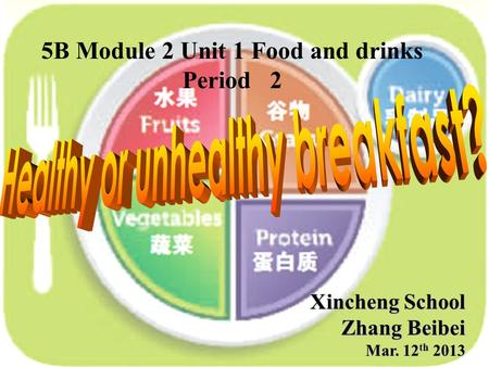 Xincheng School Zhang Beibei Mar. 12 th 2013 5B Module 2 Unit 1 Food and drinks Period 2.
