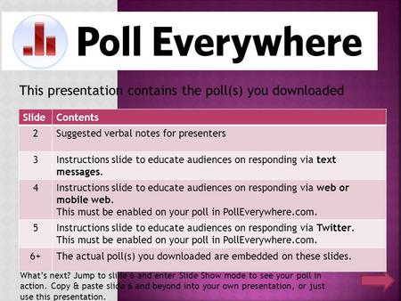 This presentation contains the poll(s) you downloaded SlideContents 2Suggested verbal notes for presenters 3Instructions slide to educate audiences on.