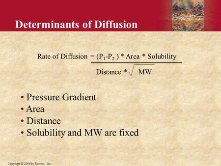Copyright © 2006 by Elsevier, Inc. Determinants of Diffusion Rate of Diffusion = (P 1 -P 2 ) * Area * Solubility Distance * MW Pressure Gradient Area Distance.