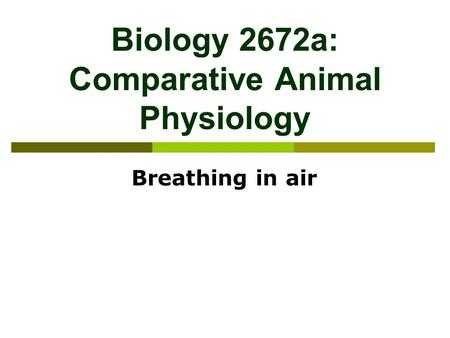 Biology 2672a: Comparative Animal Physiology Breathing in air.