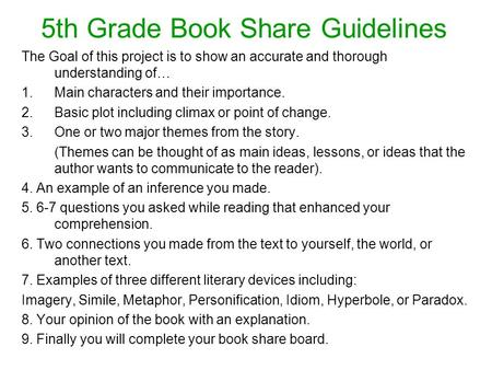 5th Grade Book Share Guidelines