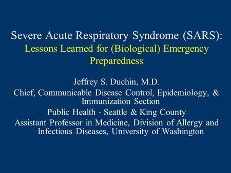 An introduction to the issue of severe acute respiratory syndrome virus sars