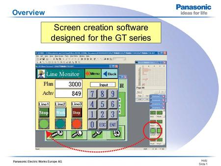 Panasonic Electric Works Europe AG Hotz Slide 1 Overview Screen creation software designed for the GT series.
