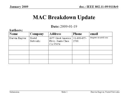 Doc.: IEEE 802.11-09/0118r0 Submission January 2009 Darwin Engwer, Nortel NetworksSlide 1 MAC Breakdown Update Date: 2009-01-19 Authors:
