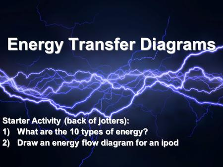 Energy Transfer Diagrams Starter Activity (back of jotters): 1)What are the 10 types of energy? 2)Draw an energy flow diagram for an ipod.