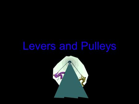 Levers and Pulleys. Lever and Pulley Jeopardy DefinitionsLevers Pulleys Simple Machines Challenge??? 10 pt 20 pt 30 pt 40 pt 50 pt Bonus.
