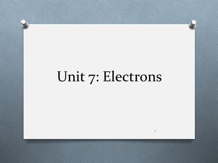Unit 7: Electrons 1. Electromagnetic (EM) radiation O A form of energy produced by electrical and magnetic vibrations, or by the movement of electrically.