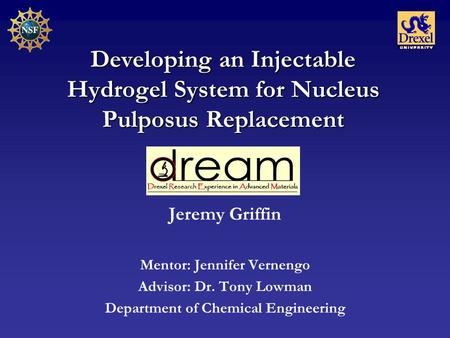 Developing an Injectable Hydrogel System for Nucleus Pulposus Replacement Jeremy Griffin Mentor: Jennifer Vernengo Advisor: Dr. Tony Lowman Department.