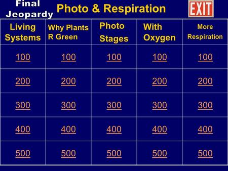 Living Systems Why Plants R Green Photo Stages With Oxygen More Respiration 100 200 300 400 500 Photo & Respiration.