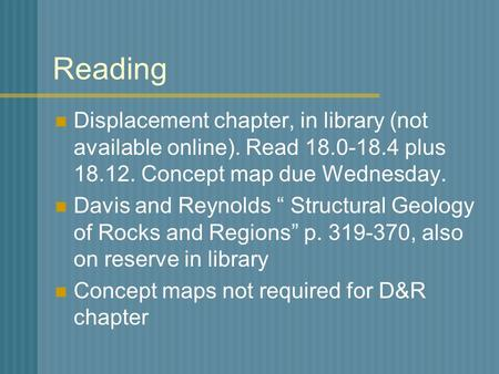 "Reading Displacement chapter, in library (not available online). Read 18.0-18.4 plus 18.12. Concept map due Wednesday. Davis and Reynolds "" Structural."