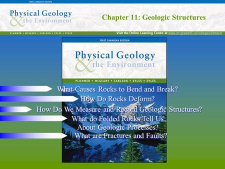Chapter 11: Geologic Structures Visit the Online Learning Centre at www.mcgrawhill.ca/college/plummerwww.mcgrawhill.ca/college/plummer Chapter 11: Geologic.