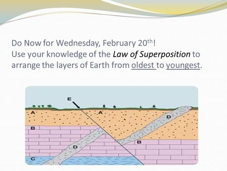 Do Now for Wednesday, February 20 th ! Use your knowledge of the Law of Superposition to arrange the layers of Earth from oldest to youngest.