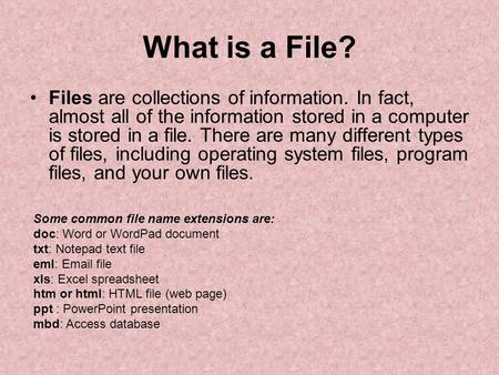 What is a File? Files are collections of information. In fact, almost all of the information stored in a computer is stored in a file. There are many different.