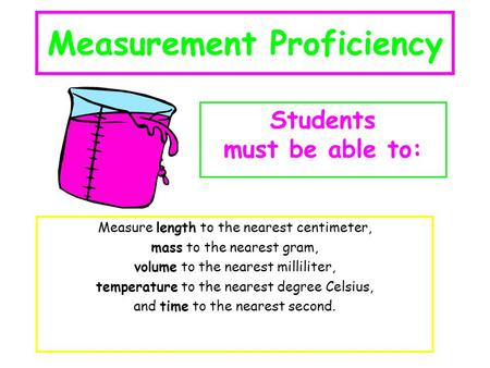 Measurement Proficiency Measure length to the nearest centimeter, mass to the nearest gram, volume to the nearest milliliter, temperature to the nearest.