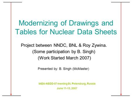 Modernizing of Drawings and Tables for Nuclear Data Sheets Project between NNDC, BNL & Roy Zywina. (Some participation by B. Singh) (Work Started March.