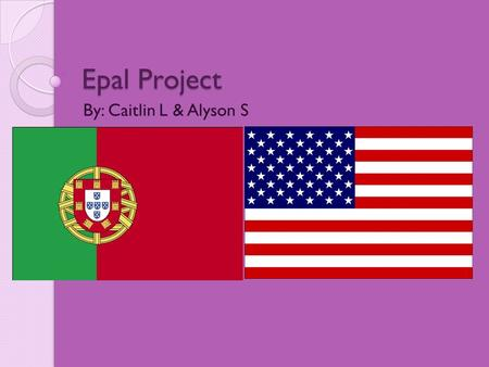 Epal Project By: Caitlin L & Alyson S. Introduction Our Epals are from Portugal, which is a country connected to the west side of Spain. They live in.
