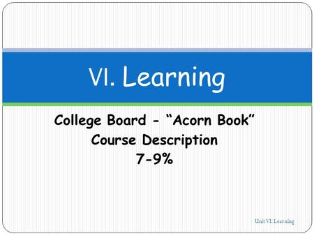 "College Board - ""Acorn Book"" Course Description 7-9% Unit VI. Learning 1 VI. Learning."