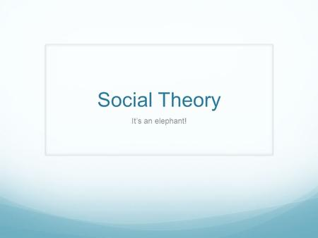Social Theory It's an elephant!. What is Theory? A system of orienting ideas, concepts, and relationships that provides a way of organizing the observable.
