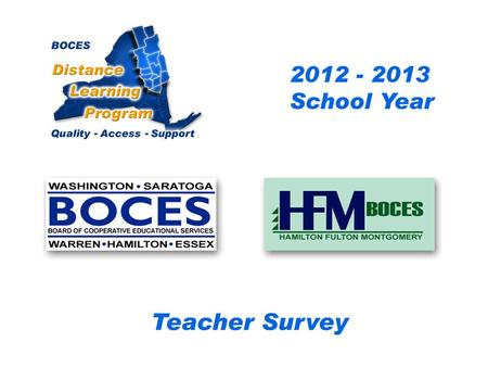.. CRB/FEH/Questar III Distance Learning Project Teacher Survey 2009– 2010 School Year BOCES Distance Learning Program Quality Access Support.