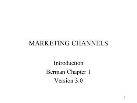 Introduction Berman Chapter 1 Version 3.0