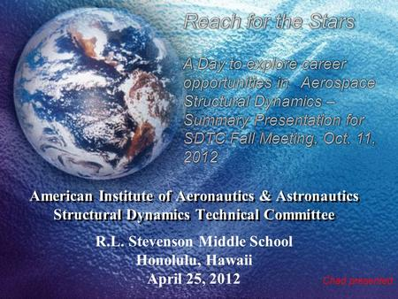 American Institute of Aeronautics & Astronautics Structural Dynamics Technical Committee R.L. Stevenson Middle School Honolulu, Hawaii April 25, 2012 Chad.