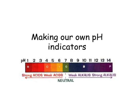 Making our own pH indicators. We often think of pH indicators as chemicals that can only be bought from chemical suppliers In fact, there are natural.