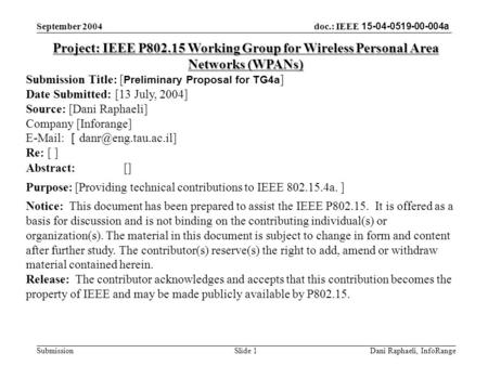 Doc.: IEEE 15-04-0519-00-004a Submission September 2004 Dani Raphaeli, InfoRange Slide 1 Project: IEEE P802.15 Working Group for Wireless Personal Area.