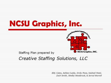 NCSU Graphics, Inc. Staffing Plan prepared by Creative Staffing Solutions, LLC Billy Cates, Ashlee Cuddy, Emily Moss, Vaishali Patel, Zach Smith, Shelby.