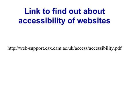 Link to find out about accessibility of websites