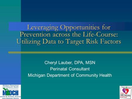 Leveraging Opportunities for Prevention across the Life-Course: Utilizing Data to Target Risk Factors Cheryl Lauber, DPA, MSN Perinatal Consultant Michigan.
