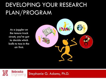 DEVELOPING YOUR RESEARCH PLAN/PROGRAM Stephanie G. Adams, Ph.D. As a juggler on the tenure track circuit, you've got to decide which balls to toss in the.