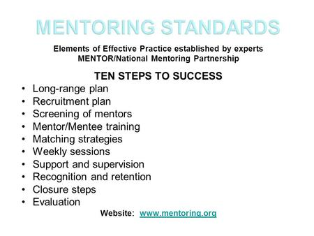 Elements of Effective Practice established by experts MENTOR/National Mentoring Partnership TEN STEPS TO SUCCESS Long-range plan Recruitment plan Screening.