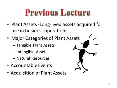 Plant Assets -Long-lived assets acquired for use in business operations. Major Categories of Plant Assets – Tangible Plant Assets – Intangible Assets –
