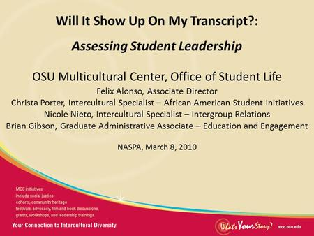 Presentation Title Will It Show Up On My Transcript?: Assessing Student Leadership OSU Multicultural Center, Office of Student Life Felix Alonso, Associate.