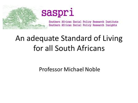 An adequate Standard of Living for all South Africans Professor Michael Noble.
