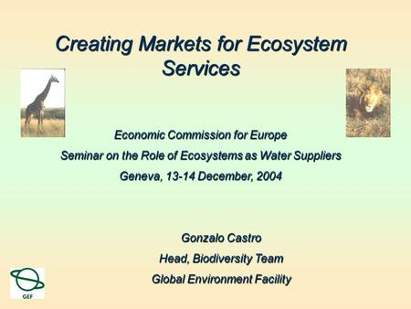 Creating Markets for Ecosystem Services Economic Commission for Europe Seminar on the Role of Ecosystems as Water Suppliers Geneva, 13-14 December, 2004.