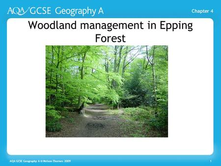 Chapter 4 AQA GCSE Geography A © Nelson Thornes 20091 Woodland management in Epping Forest.