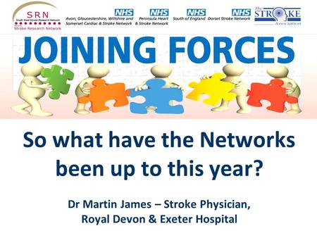 So what have the Networks been up to this year? Dr Martin James – Stroke Physician, Royal Devon & Exeter Hospital.