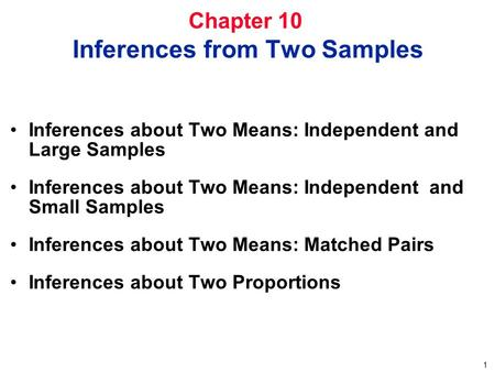 1 Chapter 10 Inferences from Two Samples Inferences about Two Means: Independent and Large Samples Inferences about Two Means: Independent and Small Samples.