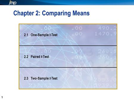 1 1 Chapter 2: Comparing Means 2.1 One-Sample t -Test 2.2 Paired t -Test 2.3 Two-Sample t -Test.