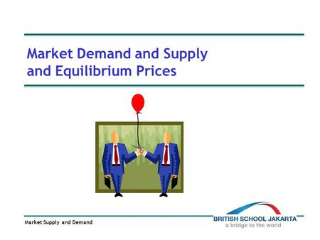Market Supply and Demand Market Demand and Supply and Equilibrium Prices.